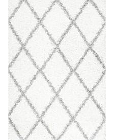 "Easy Shag Cozy Soft and Plush Diamond Trellis White 5'3"" x 7'6"" Area Rug"