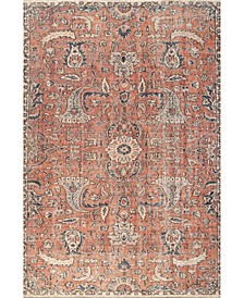 "Collina Rosalia Floral Persian Rust 5'3"" x 7'7"" Area Rug"
