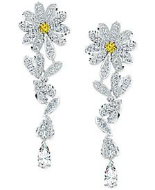 Silver-Tone Crystal Flower Linear Earrings