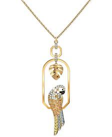"""Gold-Tone Tropical Parrot Pendant 31-3/8"""" Long Necklace"""