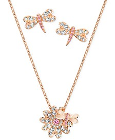 "Rose Gold-Tone Dragonfly Crystal Stud Earrings & Pendant Necklace, 14-7/8"" + 2"" extender"