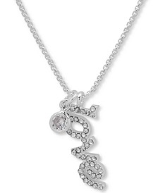 """Silver-Tone Crystal Love Pendant Necklace, 16"""" + 3"""" extender"""