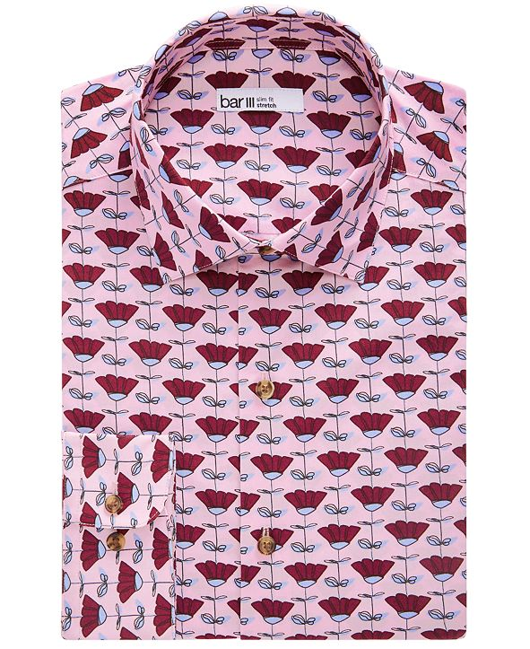 Bar III Men's Slim-Fit Performance Stretch Sketched Floral-Print Dress Shirt, Created for Macy's