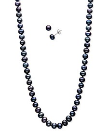 2-Pc. Set Peacock Dyed Cultured Freshwater Pearl (5-6mm) Collar Necklace & Matching Stud Earrings (Also in Pink & White Cultured Freshwater Pearl)
