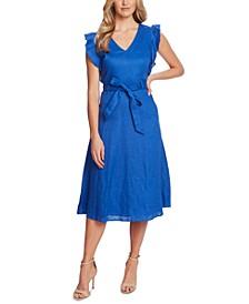Belted Flutter-Sleeve Midi Dress