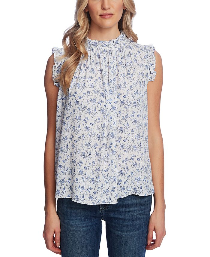 CeCe - Floral-Print Pleated Ruffled Top