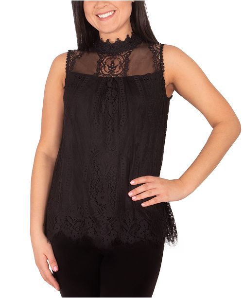 NY Collection Petite Lace Mock-Neck Top