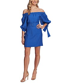 Off-The-Shoulder Balloon-Sleeve Belted Dress