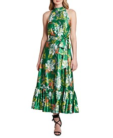 Tropical-Print A-Line Maxi Dress