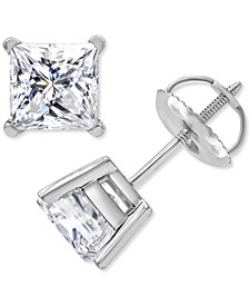 Macy's Star Signature Certified Diamond Princess Stud Earrings (2 ct. t.w.) in 14k White Gold