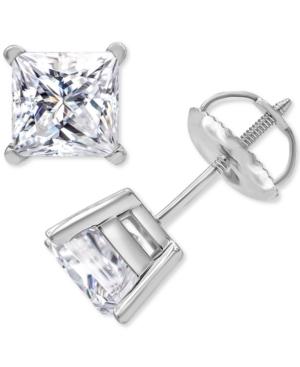 Macy's Star Signature Certified Diamond Princess Stud Earrings (2 ct. t.w.) in 14k White Gold