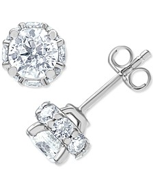 Macy's Star Signature Certified Diamond Halo Stud Earrings (2 ct. t.w.) in 14k White Gold