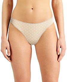 Everyday Cotton Women's Lace-Trim Thong, Created for Macy's