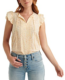 Sandra Tie-String Flutter-Sleeve Top