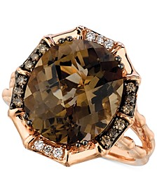 Chocolate Smoky Quartz (6-1/4 ct. t.w.) & Diamond (1/5 ct. t.w.) Statement Ring in 14k Rose Gold