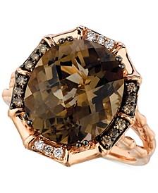 Chocolate Smoky Quartz (6-1/4 ct. t.w.) & Diamond (1/5 ct. t.w.) Statement Ring in 14k Rose Gold
