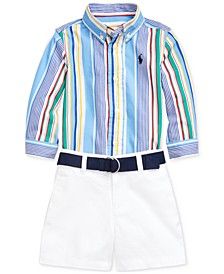 Baby Boys Poplin Shirt, Belt & Short Set