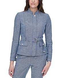 Belted Pinstripe Jacket