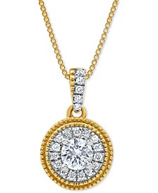 "Diamond Halo Circle 18"" Pendant Necklace (1/3 ct. t.w.) in 10k Gold"