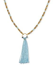 "Two-Tone Tassel Stone Beaded Pendant Necklace, 32"" + 2"" extender"