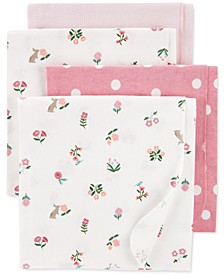 Baby Girls 4-Pk. Cotton Flannel Receiving Blankets