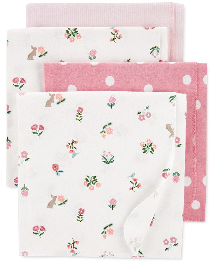 Carter's - Baby Girls 4-Pk. Cotton Flannel Receiving Blankets