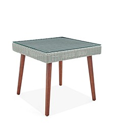 Albany All-Weather Wicker Outdoor Square Cocktail Table with Glass Top