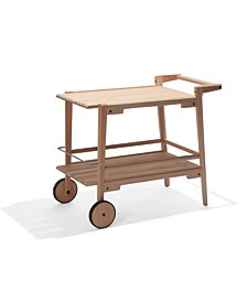Otero Eucalyptus Wood Outdoor Bar Trolley Cart