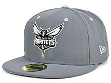 Charlotte Hornets Storm Black White Logo 59FIFTY Cap