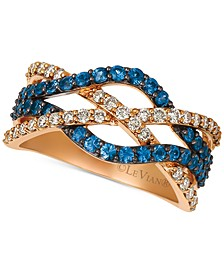 Blueberry Sapphire (3/4 ct. t.w.) & Nude Diamond (3/8 ct. t.w.) Intertwined Ring in 14k Rose Gold