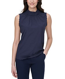 Scalloped Mock-Neck Top