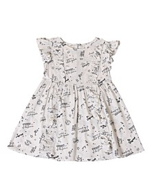 Toddler Girls Printed Icon Ruffle Dress