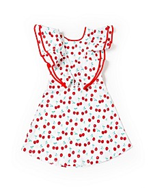 Toddler Girls Cherry Ruffle Dress