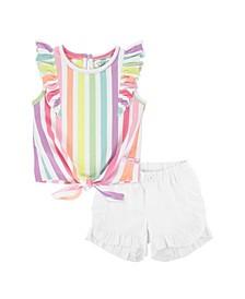 Toddler Girls Rainbow Stripe Ruffle Tie Top and Ruffle Chino Short Set