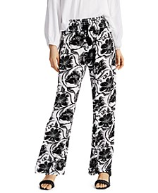 INC Printed Smocked-Waist Pants, Created for Macy's