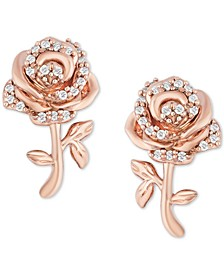 Enchanted Disney Diamond Rose Bell Stud Earrings (1/10 ct. t.w.) in 14k Rose Gold