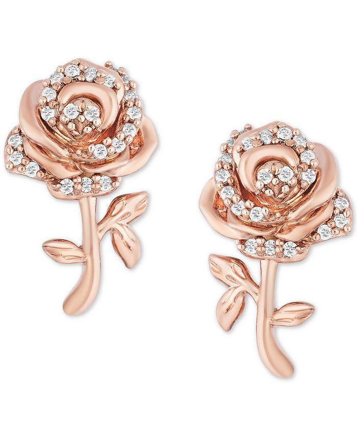 Macy's - Diamond Rose Bell Stud Earrings (1/10 ct. t.w.) in 14k Rose Gold
