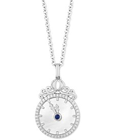 "Enchanted Disney Diamond (1/6 ct. t.w.) & Mother of Pearl Cinderella Pendant Necklace in Sterling Silver, 16"" + 2"" Extender"