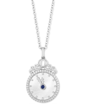 Enchanted Disney Diamond (1/6 ct. t.w.) & Mother of Pearl Cinderella Pendant Necklace in Sterling Silver