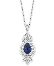 "Enchanted Disney Sapphire (3/4 ct. t.w.) & Diamond (1/4 ct. t.w.) Cinderella Pendant Necklace in 14k White Gold, 16"" + 2"" extender"