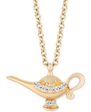 Enchanted Disney Diamond Jasmine Genie Lamp Pendant Necklace (1/10 ct. t.w.) in 14k Gold
