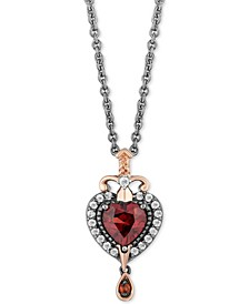 "Enchanted Disney Villains Garnet (7/8 ct. t.w.) & Diamond (1/6/ ct. t.w.) Evil Queen Pendant Necklace in Sterling Silver & 14k Rose Gold, 16"" + 2"" Extender"