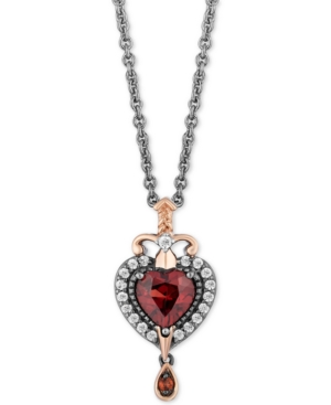 Enchanted Disney Villains Garnet (7/8 ct. t.w.) & Diamond (1/6/ ct. t.w.) Evil Queen Pendant Necklace in Sterling Silver & 14k Rose Gold