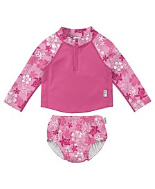 Baby Girl Two-Piece Rashguard Set with Snap Reusable Absorbent Swimsuit Diaper