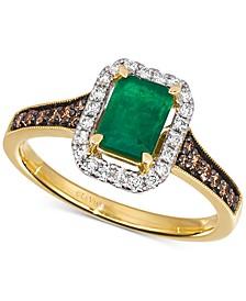 Costa Smeralda Emerald (5/8 ct. t.w.) & Diamond (1/3 ct. t.w.) Ring in 14k Gold