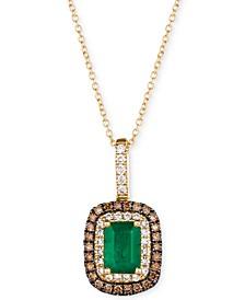 "Emerald (3/4 ct. t.w.) & Diamond (3/8 ct. t.w.) 18"" Pendant Necklace in 14k Gold"