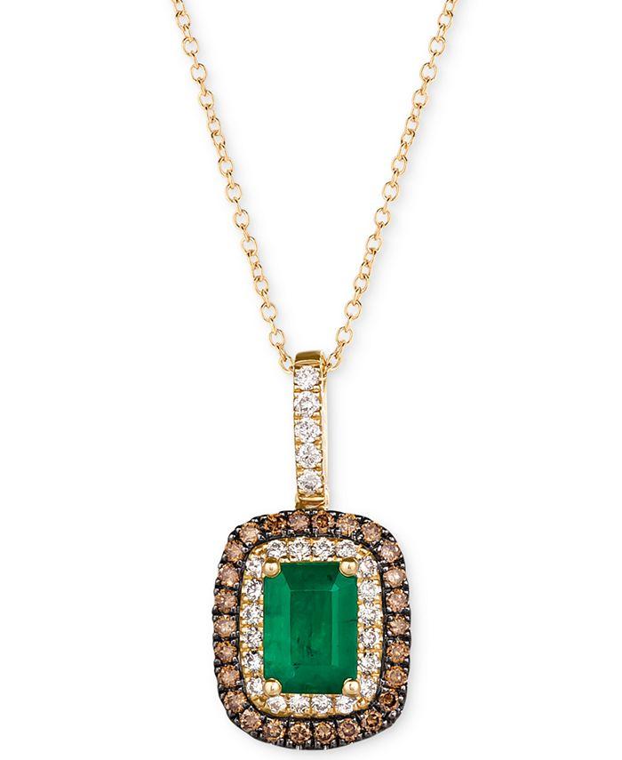 """Le Vian - Emerald (3/4 ct. t.w.) & Diamond (3/8 ct. t.w.) 18"""" Pendant Necklace in 14k Gold"""