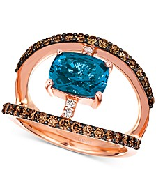 Deep Sea Blue Topaz (1-7/8 ct. t.w.) & Diamond (3/4 ct. t.w.) Statement Ring in 14k Rose Gold