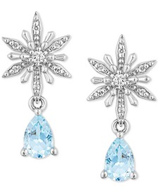 Enchanted Disney Aquamarine (7/8 ct. t.w.) & Diamond (1/10 ct. t.w.) Elsa Drop Earrings in Sterling Silver