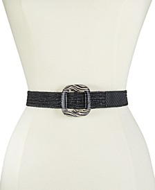 Straw Stretch Belt With Pattern Buckle